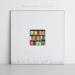 lato 35 petite bibliotheque 2 cornice bianco tortora quadro mosaico