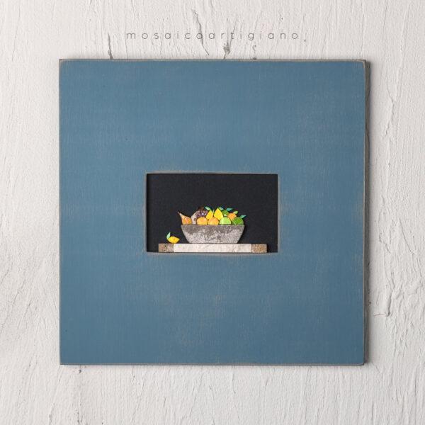 lato 35 cesto frutta cornice blu tortora quadro mosaico