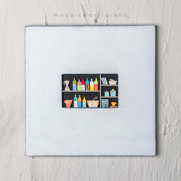 lato 35 dispensa orizzontale cornice bianco blu quadro mosaico