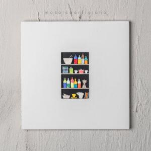 lato 35 dispensa verticale cornice bianco quadro mosaico