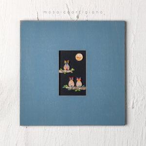 lato 35 gufi cornice blu tortora quadro mosaico