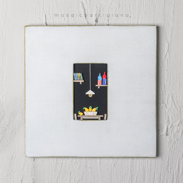 lato-35-interno-cucina-cesto-limoni-cornice-bianco-giallo-ocra-quadro-mosaico